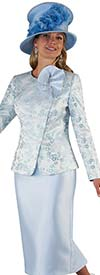 Tally Taylor 4665 - Womens Skirt Suit With Floral Pattern Design Ruffle Detail Jacket