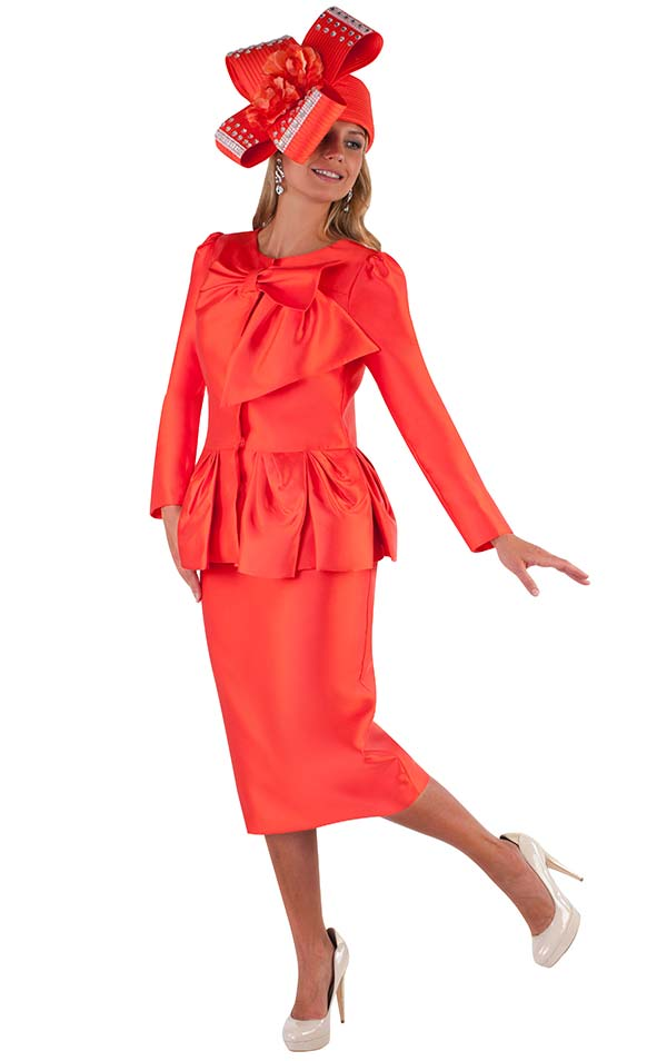 Tally Taylor 4666-Orange - Skirt Suit With Soft Bow Detail Collar & Ruffle Effect Pleated Hem Jacket