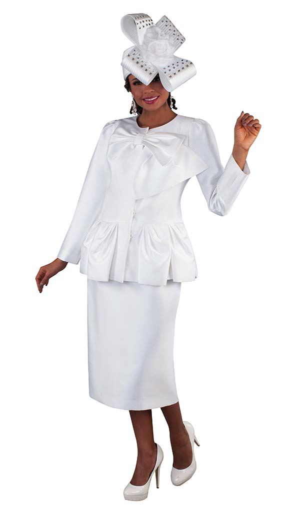 Tally Taylor 4666-White - Skirt Suit With Soft Bow Detail Collar & Ruffle Effect Pleated Hem Jacket