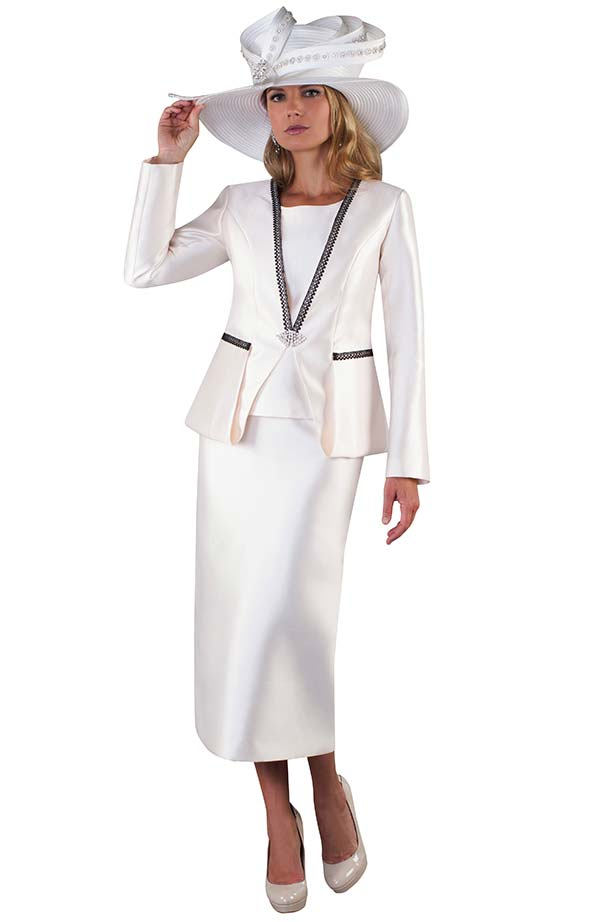 Tally Taylor 4667-Ivory - Three Piece Womens Church Suit With Strip Lace Detailed Jacket