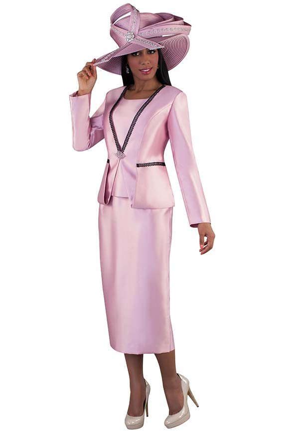 Tally Taylor 4667-Rose - Three Piece Womens Church Suit With Strip Lace Detailed Jacket