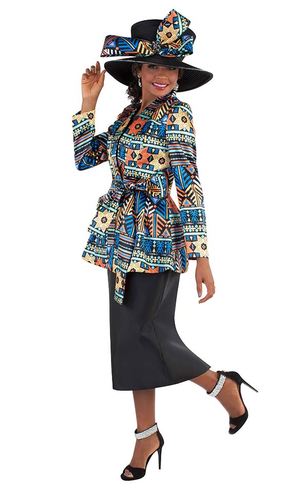 Tally Taylor 4680 - Skirt Suit With Printed Novelty Fabric Jacket & Sash