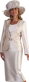 Tally Taylor 4681 - Womens Skirt Suit With Satin & Rhinestone Design Jacket