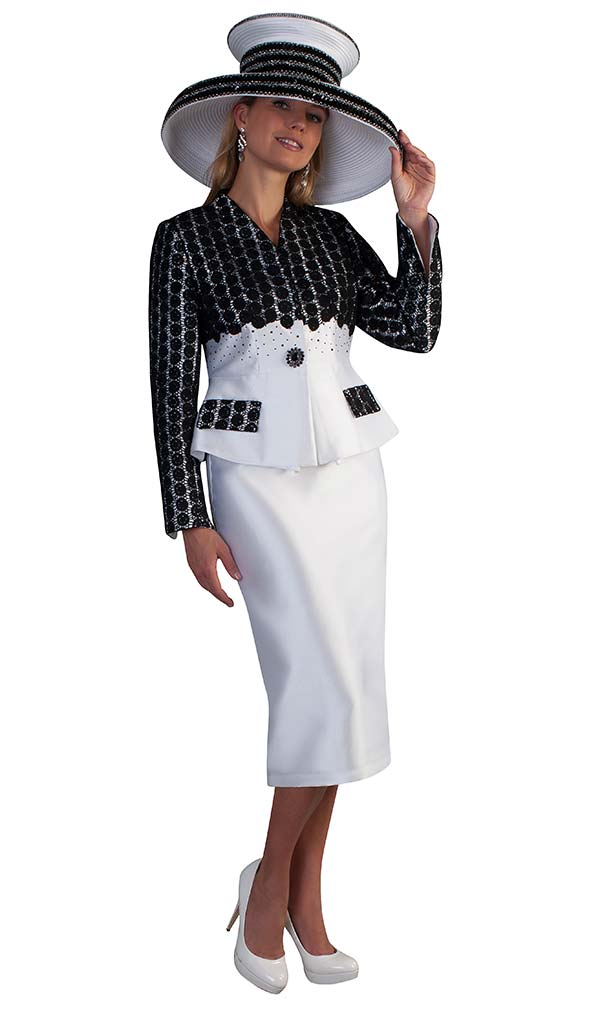 Tally Taylor 4682 - Womens Two Piece Skirt Suit With Intricate Lace Designed Jacket