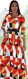 Tally Taylor 4497 - One Piece Multi Print Dress In Silk-Like Fabric With Rhinestone Brooch