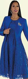 Tally Taylor 4529 - Two Piece Lace Design Dress Suit With Solid Jacket & Rhinestone Brooch
