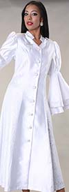 Tally Taylor 4565-White - Womens Church Robe With Jacquard Prints