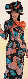 Tally Taylor 4708 - Floral Jacquard Skirt Suit With Rhinestone Brooch & Detachable Bow