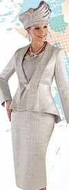 Tally Taylor 4709 - Womens Metallic Jacquard Skirt Suit With Peplum Jacket Including Pearl Brooch Closure