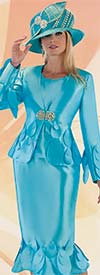 Tally Taylor 4710-Blue - Womens Flounce Skirt Suit With Teardrop Petal Accents