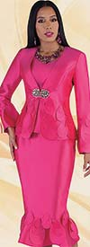 Tally Taylor 4710-Pink - Womens Flounce Skirt Suit With Teardrop Petal Accents