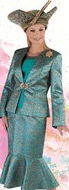 Tally Taylor 4711 - Metallic Jacquard Flounce Skirt Suit With Rhinestone Brooch