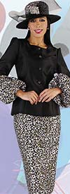 Tally Taylor 4712 - Cheetah Print Skirt Suit With Balloon Sleeve Jacket