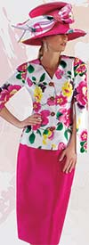 Tally Taylor 4713 - Skirt Suit With Floral Print Cape Sleeve Jacket