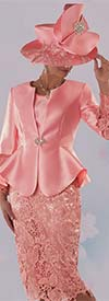 Tally Taylor 4714-Coral - Silk Wool Look Jacket With Lace Bell Cuff Sleeves & Skirt