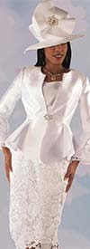 Tally Taylor 4714-White - Silk Wool Look Jacket With Lace Bell Cuff Sleeves & Skirt