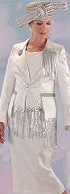 Tally Taylor 4719 - Womens Metallic Fringe Skirt Suit With Rhinestones