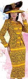 Tally Taylor 4725 - Mixed Print Twill Skirt Suit With Rhinestone Buttons On Star Neckline Jacket