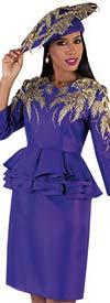 Tally Taylor 4727 - Ruffle Peplum Waistline Dress With Metallic Leaf Embroidery Detail Feature