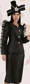 Tally Taylor 4729 - Womens Church Skirt Suit With Organza Ruffle Trims Across Sleeves