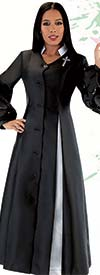 Tally Taylor 4730 - Womens Church Robe With Godet Pleats And Pearl Trimmed Ruffle Sleeves