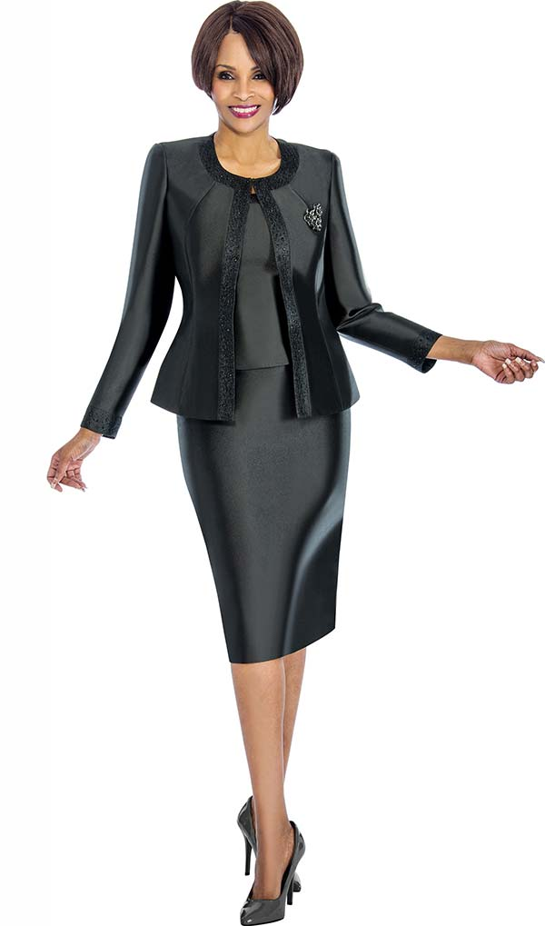 Terramina 7637-Black - Solid Color Skirt Suit With Pattern Trim Design