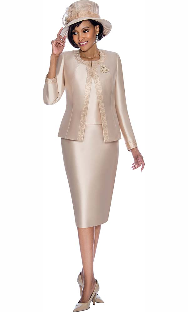 Terramina 7637-Champagne - Solid Color Skirt Suit With Pattern Trim Design