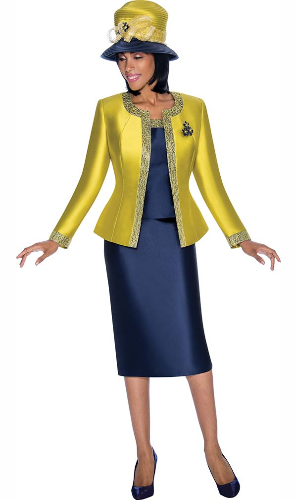 Terramina 7637-Citron - Solid Color Skirt Suit With Pattern Trim Design