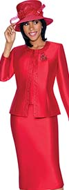 Clearance Terramina 7637-Red - Solid Color Skirt Suit With Pattern Trim Design