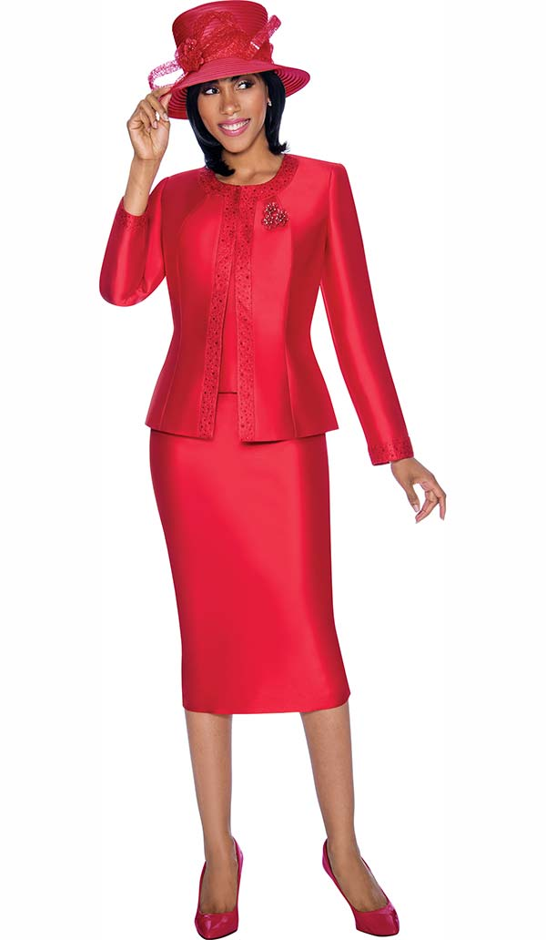 Terramina 7637-Red - Solid Color Skirt Suit With Pattern Trim Design