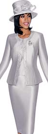 Terramina 7637-Silver - Solid Color Skirt Suit With Pattern Trim Design