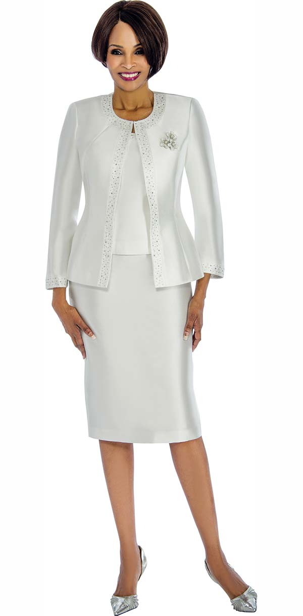 Terramina 7637-White - Solid Color Skirt Suit With Pattern Trim Design