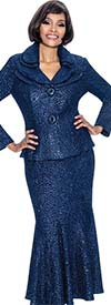 Terramina 7656-Navy - Godet Pleat Skirt Set With Layered Lapels