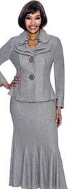Terramina 7656-Silver - Godet Pleat Skirt Set With Layered Lapels