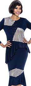 Terramina 7660 - Houndstooth Pattern Inset Design Skirt Outfit With Asymmetric Style Jacket