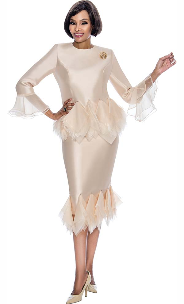 Terramina 7668-Champagne - Skirt Suit With Tulle Trim Design & Bell Cuffs