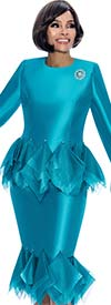 Clearance Terramina 7668-Teal - Skirt Suit With Tulle Trim Design & Bell Cuffs