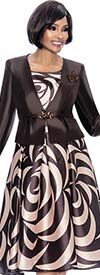 Terramina 7672 - Printed & Pleated Dress With Solid Jacket Design