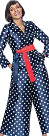 Terramina 7676 - Polka Dot Pattern Design Jumpsuit With Sash