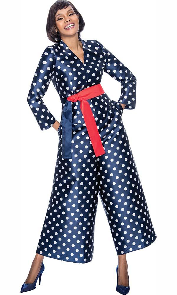 Terramina 7676 - Polka Dot Pattern Design Jumpsuit With Sash