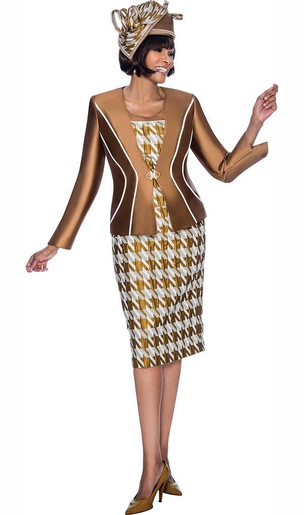 Terramina 7685 - Houndstooth Style Print Skirt Set With Stripe Detail Jacket