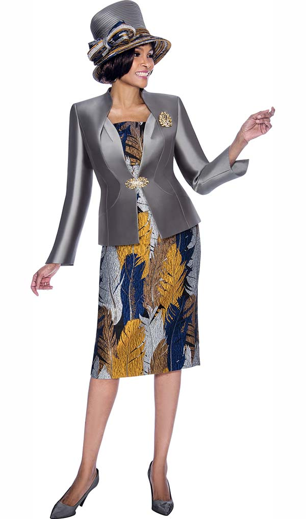 Terramina 7686 - Multi Foliage Print Skirt Outfit With Solid Jacket Design