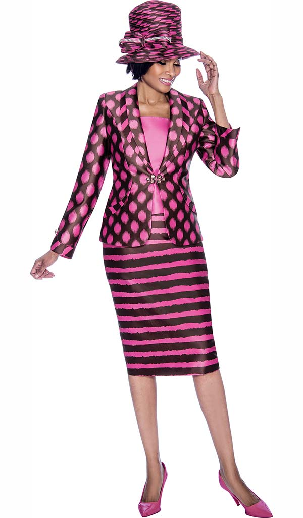 Terramina 7687 - Striped Skirt Outfit With Spot Design Print Shawl Lapel Jacket