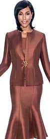 Terramina 7689-Brown - Three Piece Flared Skirt Suit