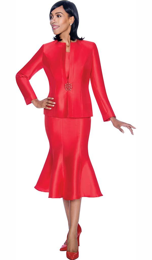 Terramina 7689-Red - Three Piece Flared Skirt Suit