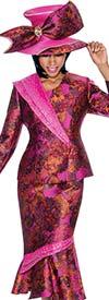 Terramina 7690 - Printed Flounce Skirt Outfit With Asymmetric Trim Design