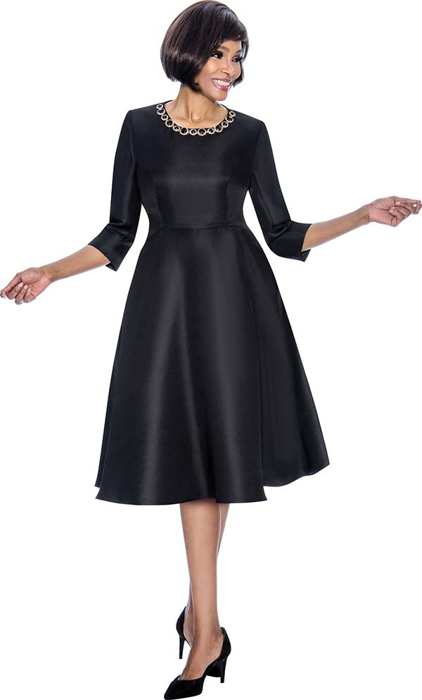 Terramina 7691-Black - Pleated Dress With Stone Embellished Neckline