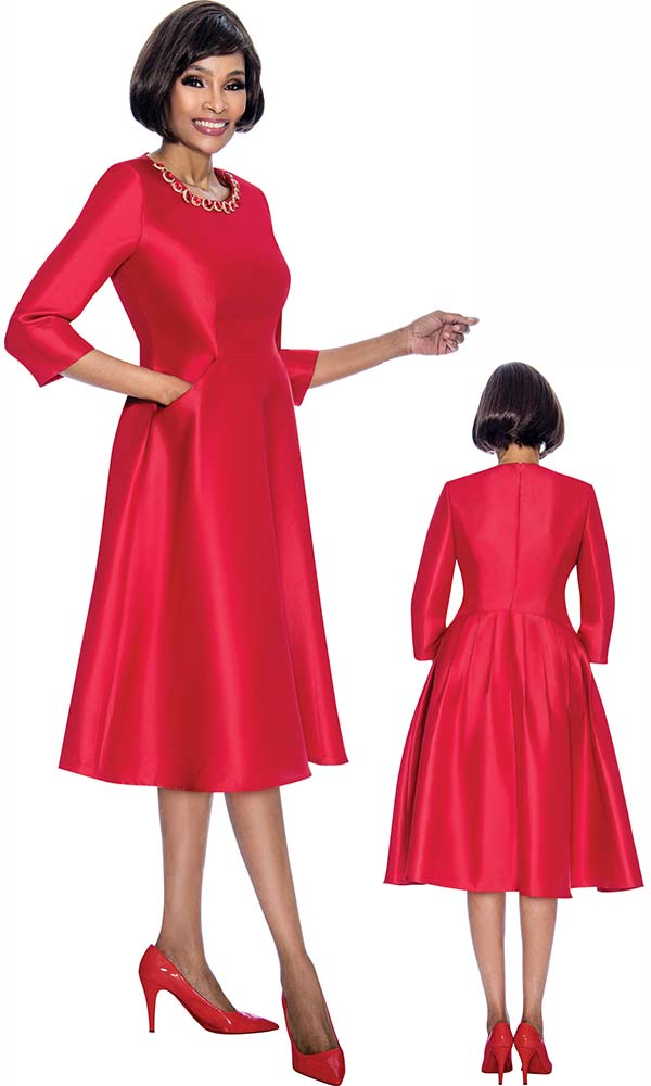 Terramina 7691-Red - Pleated Dress With Stone Embellished Neckline
