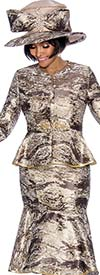 Terramina 7692 - Multi Print Flounce Skirt Suit With Bell Cuff Sleeves