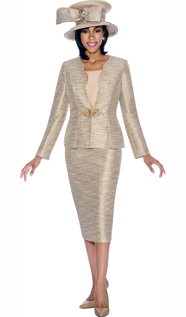 Terramina 7693 - Gold Metallic Design Jacket & Skirt Set